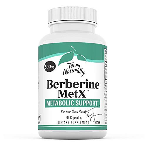 Terry Naturally Berberine - 60 Capsules - Metabolic Support Supplement, Heart, Cholesterol, Triglyceride Balance, Blood Sugar, Liver, Cellular, Joint Health - Non-GMO, Vegan, Gluten-Free, 60 Servings