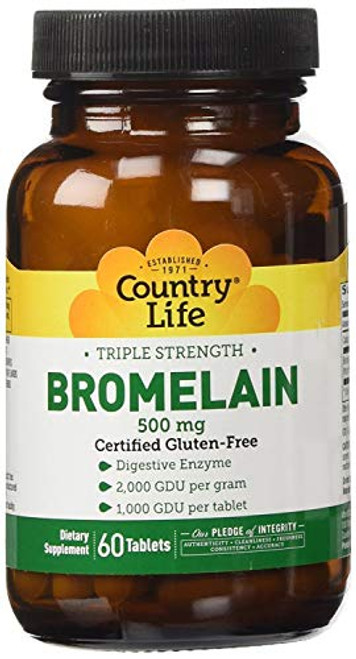 Country Life Triple Strength Bromelain 500 Mg 2, Gdu/g, 60-Count (package may vary)
