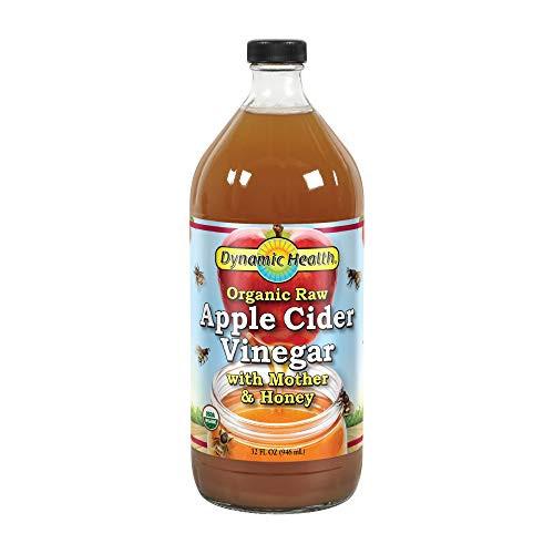 Dynamic Health Organic Raw Apple Cider Vinegar with Mother & Honey | Vegetarian, Non-GMO, No Gluten or Artificial Flavors | 32 FL OZ, Btl-Glass