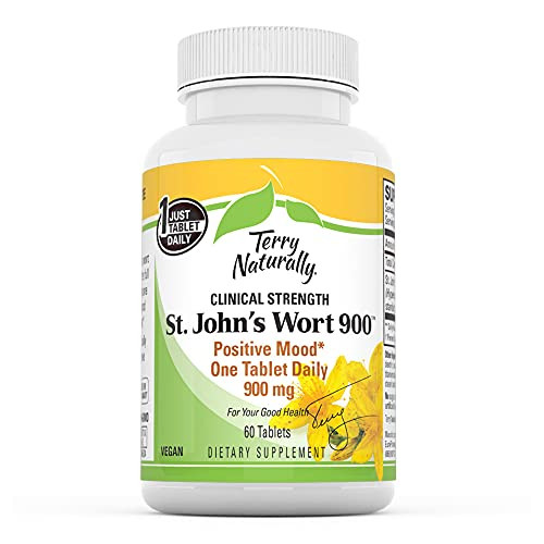 Terry Naturally St John's Wort 900-900 mg, 60 Vegan Tablets - Emotional Health Support Supplement, Promotes Positive Mood, Provides Full Clinical Dose - Non-GMO, Gluten-Free - 60 Servings