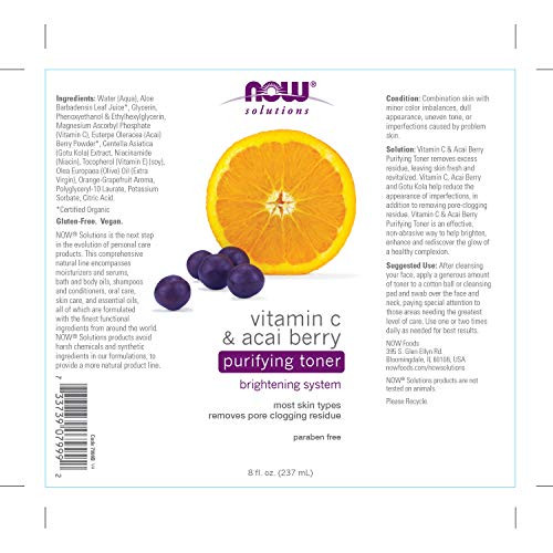 NOW Solutions, Vitamin C and Acai Berry Purifying Toner, Brightening System, Removes Pore-Clogging Residue, 8-Ounce