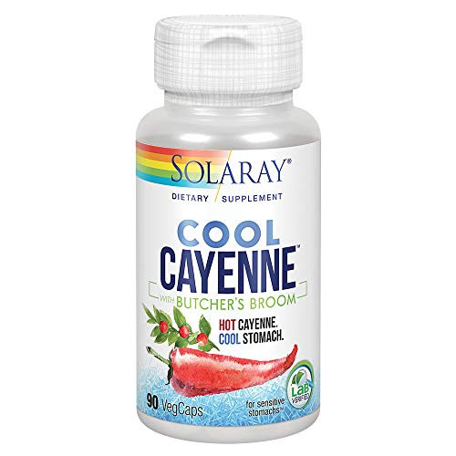 Solaray Cool Cayenne Pepper 40,000 HU with Butchers Broom for Healthy Circulation Support | 90 VegCaps …