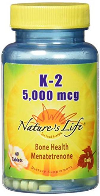 Nature's Life Vitamin K2 5000mcg | High Potency MK4 Formula Helps Support Bone & Cardiovascular Health | Non-GMO | 60 Vegetarian Tablets