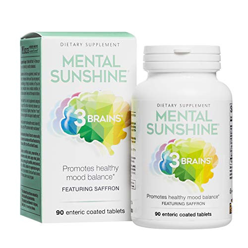 3 Brains by Natural Factors, Mental Sunshine, Promotes Healthy Mood Balance, Daily Dietary Supplement, Vegan, 90 Enteric Coated Tablets (90 Servings)