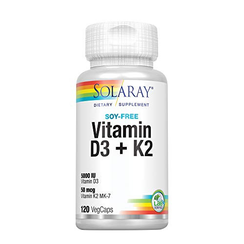 Solaray Vitamin D3 + K2 | for Immune Support, Calcium Absorption, and Support for Healthy Cardiovascular System & Arteries | Non-GMO & No Soy | 120CT