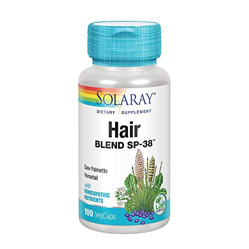 Solaray Hair Blend SP-38 | Herbal Blend w/Cell Salt Nutrients to Help Support Healthy Hair | 50 Servings | 100 VegCaps