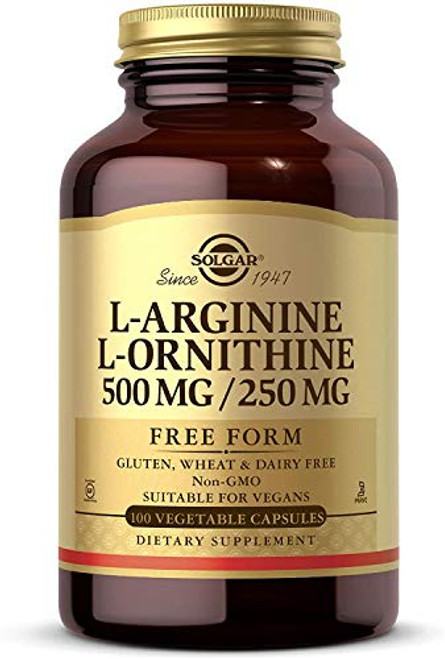 Solgar L-Arginine/L-Ornithine 500/250 mg, 100 Vegetable Capsules - Supports Blood Flow - Supports Creatine Synthesis & Protein Formation - Non-GMO, Vegan, Gluten & Dairy Free, Kosher - 100 Servings