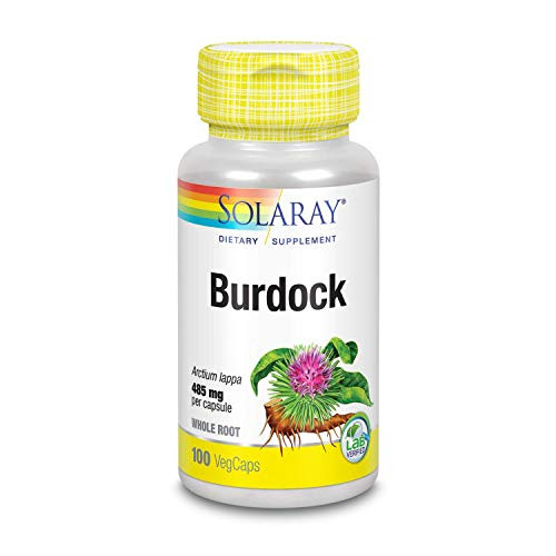 Solaray Organically Grown Burdock Root 485 mg | Healthy Liver, Kidney, Digestion, Circulation, Joint & Skin Support | Non-GMO & Vegan | 100 VegCaps