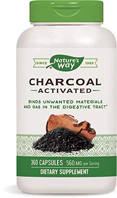 Nature's Way Charcoal Activated; 560 mg Charcoal per serving; 360 Capsules (Packaging May Vary)