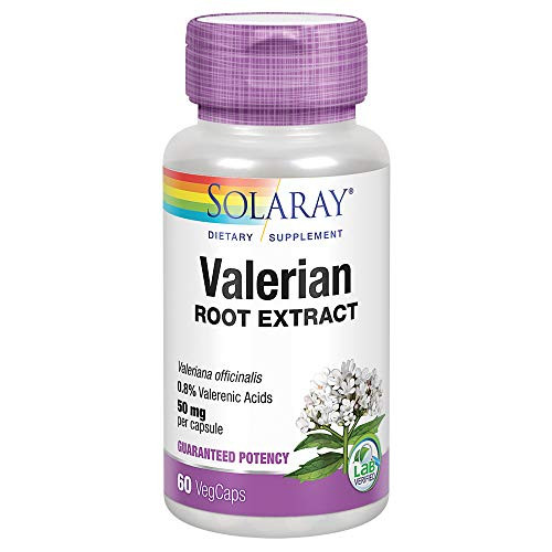 Solaray Valerian Root Extract 50 mg | Relaxation Support for a Healthy Sleep Cycle | 0.8% Valerenic Acids | 60 CT