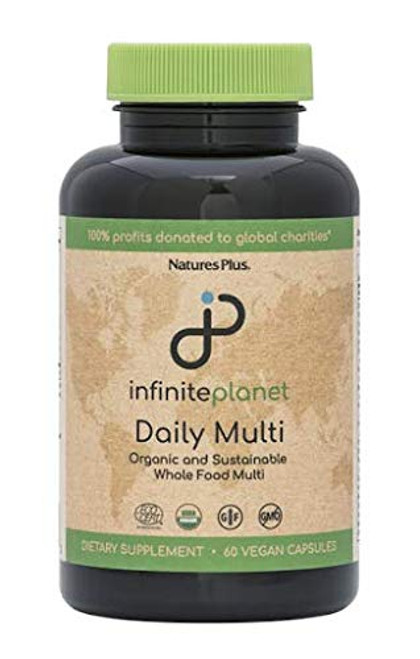 NaturesPlus Infinite Planet Daily Multi - 60 Vegan Capsule - Certified Organic And Sustainable Whole Food Multivitamin - With Maca & 40 Whole Foods - Gluten-Free - 30 Servings