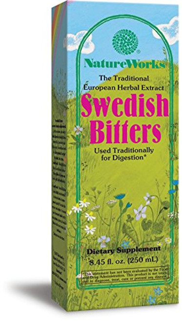 NatureWorks Swedish Bitters Traditional European Herbal Extract Used for Digestion, 8.45 fl. oz.