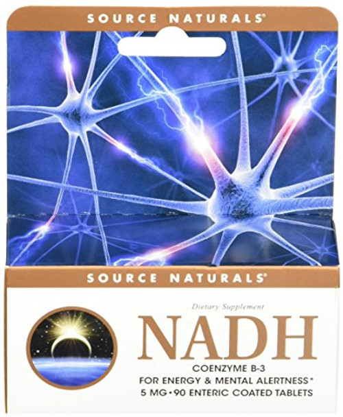 Source Naturals NADH 5mg, Boost Energy and Mental Alertness, 90 Tablets-1610696397