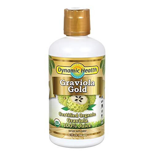 Dynamic Health Graviola Gold   Organic Graviola 100% Juice   Vegetarian, No Gluten or BPA, Dietary Supplement   32oz