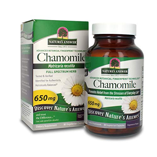Nature's Answer Chamomile Flower 90 Vegetarian Capsules   Relaxation Support   Helps with Digestion   Natural Calming Aid