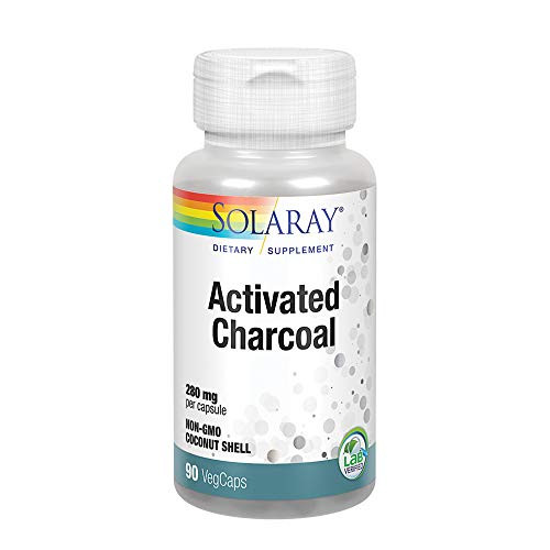 Solaray Activated Charcoal 280mg | Coconut Source | Healthy Inner Cleansing & Digestive Tract Support | Non-GMO, Vegan & Lab Verified | 90 Capsules-1610696823