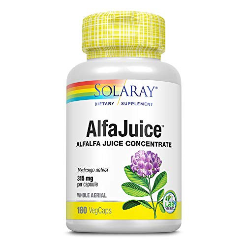 Solaray Organically Grown AlfaJuice 315 mg   Alfalfa Juice Concentrate   Naturally Occurring Vitamins, Minerals, Chlorophyll & More   180 VegCaps