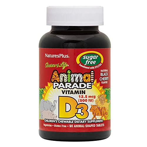 Natures Plus Animal Parade Sugar-Free Childrens Vitamin D3 - 500 IU - Black Cherry Flavor - 90 Chewable Animal Shaped Tablets - Bone Health & Immune System Support Supplement - 90 Servings