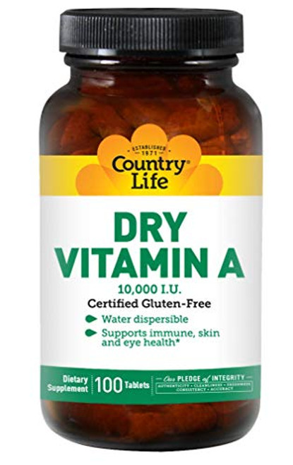 Country Life, Dry Vitamin A 10,000 I.U, Tablets, 100-Count-1610696958