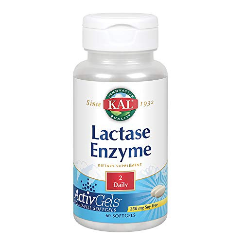 KAL Lactase Enzyme 250 mg   Healthy Digestion Support for Lactose Intolerance   Liquid-Filled ActivGels   60ct, 30 Serv.