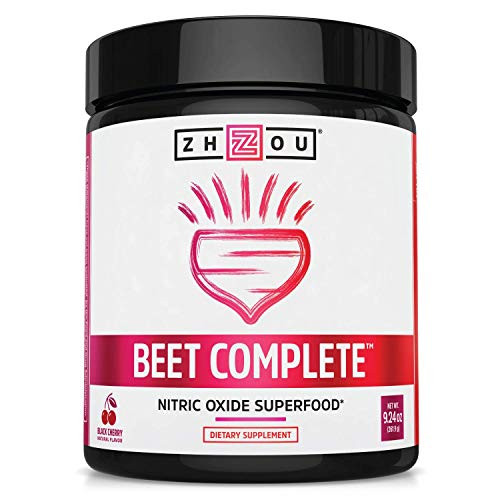Zhou Beet Complete | Nitric Oxide Superfood Powder | Preworkout Formulated to Boost Performance & Heart Health | Black Cherry Flavor | 9.24 oz