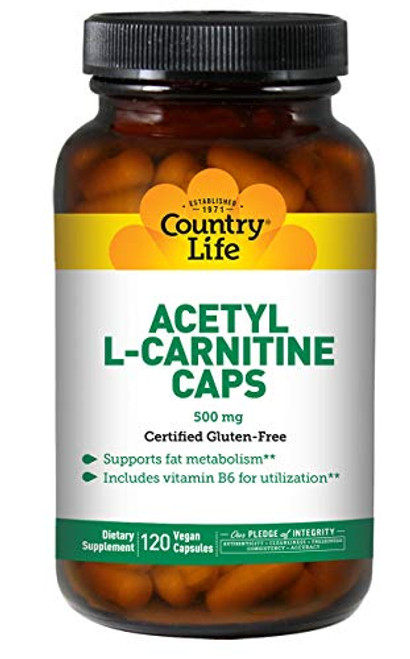 Country Life Acetyl L-Carnitine Caps - 120 Vegan Capsules - Supports Fat Metabolism - Vitamin B6 for Utilization