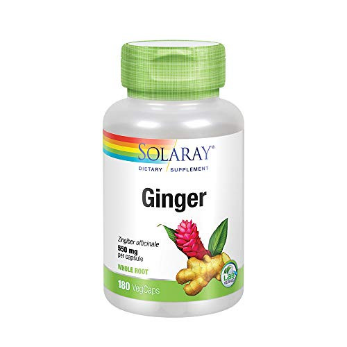 Solaray Ginger Root 550mg   Healthy Digestion, Joints and Motion & Stomach Discomfort Support   Whole Root   Non-GMO & Vegan   180 VegCaps-1610697579