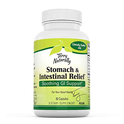 Terry Naturally Stomach & Intestinal Relief - 75 mg Licorice, 3.5% Glabridin - 60 Vegan Capsules - Soothing Stomach & Intestinal Support Supplement - Non-GMO, Gluten-Free - 60 Servings