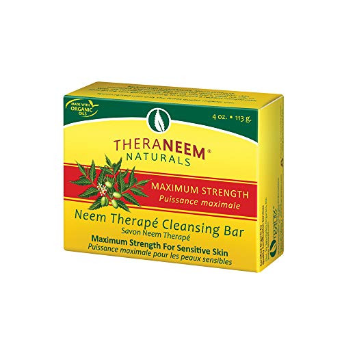 TheraNeem Neem Therape Cleansing Bar, Maximum Strength | Neem Oil Soap for Sensitive Skin | Soothes & Hydrates | 4oz