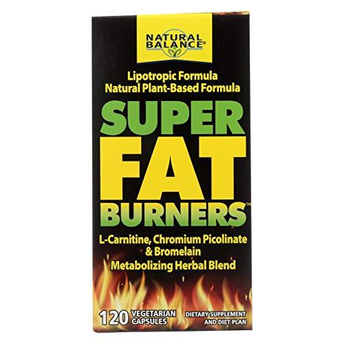 Natural Balance Super Fat Burners | Energy, Metabolism & Healthy Weight Management Formula & Plan | With Chromium Picolinate | 120 VegCaps, 30 Serv.