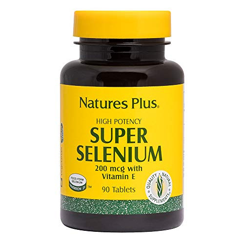 NaturesPlus Super Selenium Complex - 200 mcg, 90 Vegetarian Tablets - Essential Mineral Supplement with Vitamin E - Promotes Healthy Thyroid - Antioxidant - Gluten-Free - 90 Servings
