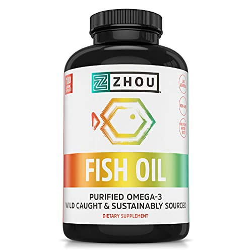 Zhou Nutrition Fish Oil - Max Strength Omega 3 Fatty Acids with EPA and DHA from Purified, Sustainably-Sourced Fish Oil- Heart, Joint and Brain Health Formula