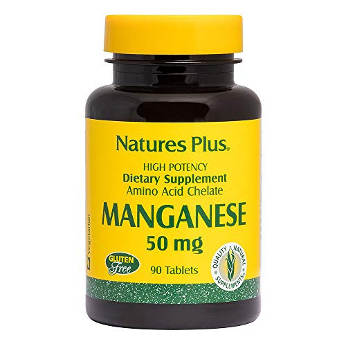 NaturesPlus Manganese Amino Acid Chelate - 50 mg, 90 Vegetarian Tablets - High Potency Essential Trace Mineral Supplement, Supports Bone & Cartilage Health - Gluten-Free - 90 Servings