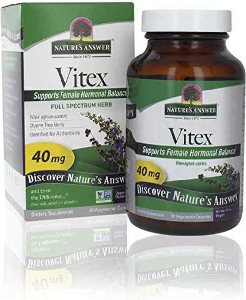 Nature's Answer Vitex (Agnus-Castus) Chastetree Berry Vegetarian Capsules, 90-Count | Promotes Female Hormonal Balance | Ovulation Production Supplement | Menopause Support