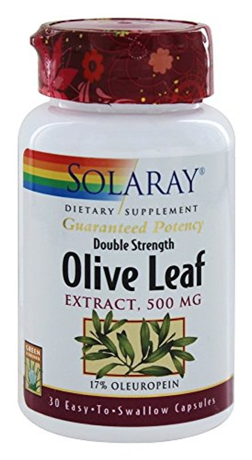 Solaray - Guaranteed Potency Olive Leaf Extract Double Strength 500 mg. - 30 Capsules