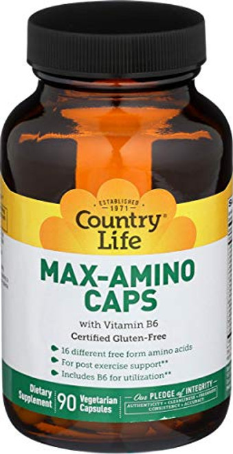 Country Life Max-Amino with B-6 (Blend of 18 Amino Acids), Vegetarian Capsules, 90-Count