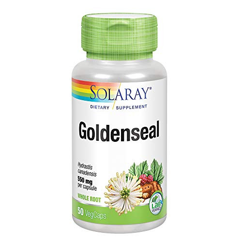 Solaray Goldenseal Root 550mg | Healthy Digestion, Immune Function & Respiratory Support | Whole Root | Non-GMO, Vegan & Lab Verified | 50 VegCaps