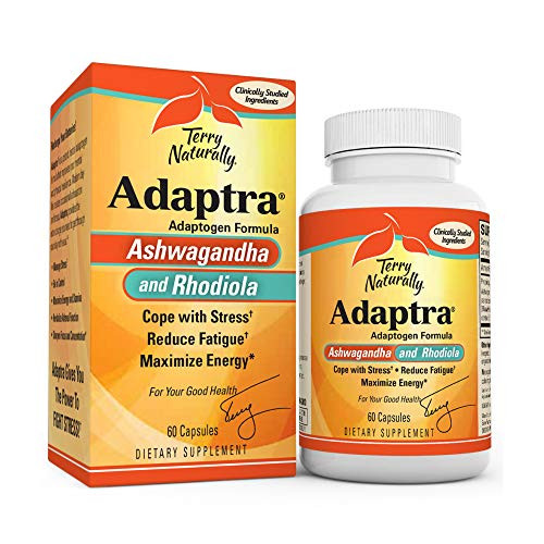 Terry Naturally Adaptra - 60 Capsules - Ashwagandha & Rhodiola Supplement - 60 Servings