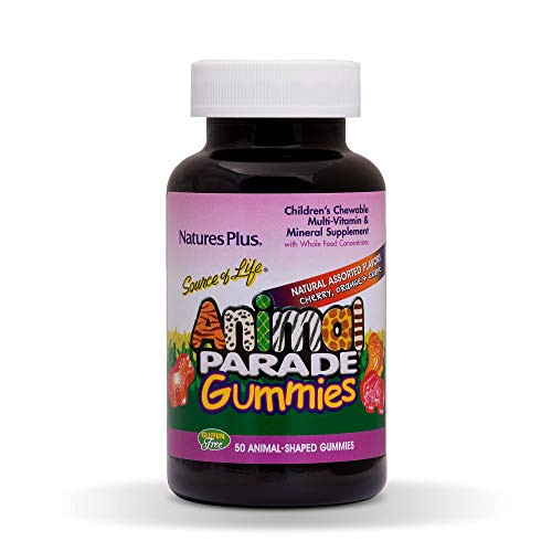 NaturesPlus Animal Parade Source of Life Children's Multivitamin Gummies - 50 Animal Shaped Gummies - Natural Assorted Flavors - Promotes Health and Wellbeing - Vegetarian, Gluten-Free - 25 Servings