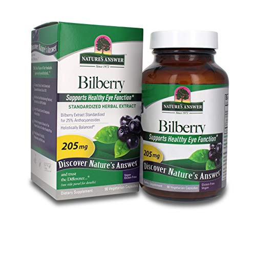 Nature's Answer Bilberry Standardized Capsules 90 Count | Eye & Vision Support | Promotes Circulation
