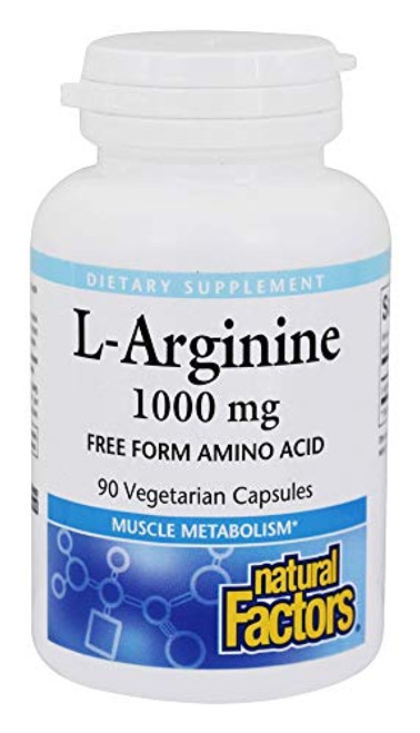 Natural Factors - L-Arginine, Supports Muscle Metabolism, 90 Vegetarian Capsules