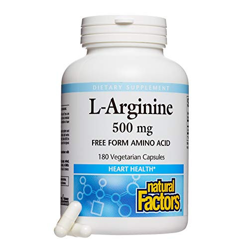 Natural Factors, L-Arginine 500 mg, Supports a Healthy Cardiovascular System, Heart and Muscle Metabolism, 180 capsules (180 servings)