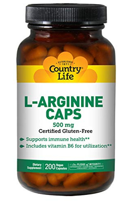 Country Life L-Arginine 500 mg with Vitamin B6-200 Vegetarian Capsules - May Help Support Immune Health - Aids Utilization - Gluten-Free