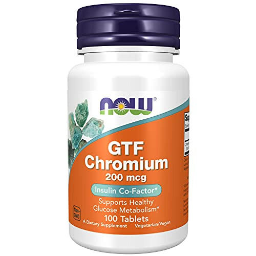 NOW Chromium Gtf 200mcg , 100 Tablets(Pack of 4)