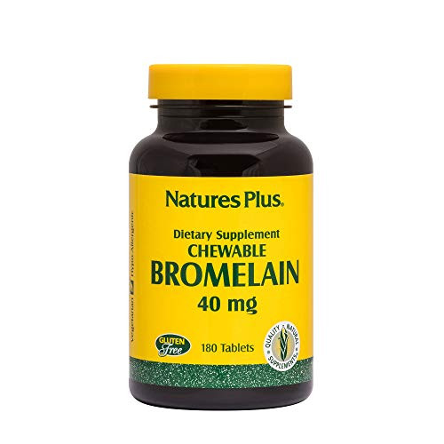 NaturesPlus Chewable Bromelain - 40 mg - Natural Proteolytic Enzyme Supplement, Sinus Support, Anti-Inflammatory - 180 Chewable Tablets (180 Servings)
