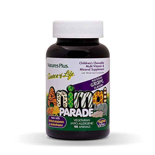 NaturesPlus Animal Parade Source of Life Children's Chewable Multivitamin - Grape Flavor - 90 Animal Shaped Tablets - Promotes Health and Wellbeing - Vegetarian, Gluten-Free - 45 Servings