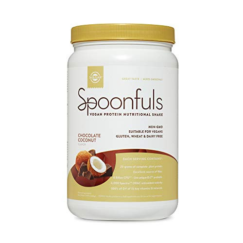 Solgar Spoonfuls Vegan Protein Powder - Chocolate Coconut Flavor, 14 Servings - Nutritional Shake with Probiotics, Digestive Enzymes, Flaxseed - Non GMO, Gluten & Dairy Free - 3 Scoops Per Serving