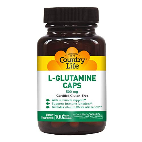 Country Life L-Glutamine Caps - 500 mg with Vitamin B6-100 Vegan Capsules - May Help Aid in Muscle Support - Promotes Immune Function Support - Gluten-Free