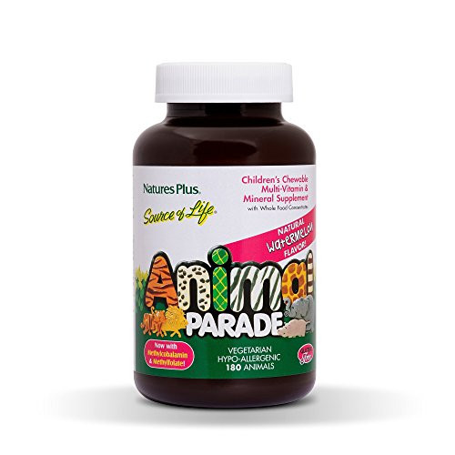 NaturesPlus Animal Parade Source of Life Children's Chewable Multivitamin - Watermelon Flavor - 180 Animal Shaped Tablets - Promotes Health and Wellbeing - Vegetarian, Gluten-Free - 90 Servings