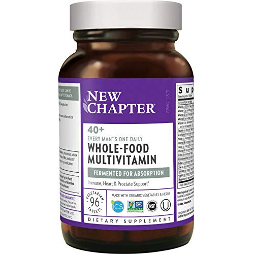 New Chapter Men's Multivitamin, Every Man's One Daily 40+, Fermented with Probiotics + Saw Palmetto + B Vitamins + Vitamin D3 + Organic Non-GMO Ingredients - ct Unflavored, 96 Count (Pack of 1)
